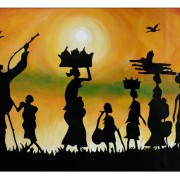 A Silhouetted Village Scene